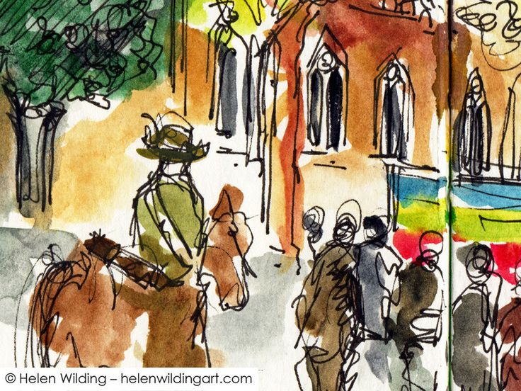Standing in Swanston Street, Melbourne as the ANZAC Day Parade passed. You couldn't have anything more symbolic than a lighthorseman - so I painted him.