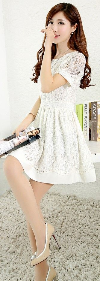 Elegant Short Sleeve Korean Lace Dress YRB0045