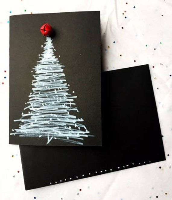 Christmas Card White Marker Drawing Of Christmas Tree With Red Bell On Thick Black Paper Christmas Cards Marker Drawing Handmade