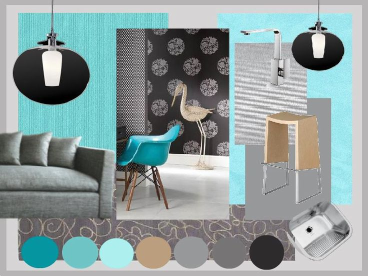 Neutral grey Kitchen benchtops and doors with aqua details. Created using www.sampleboard.com #aqua #kitchen #moodboard