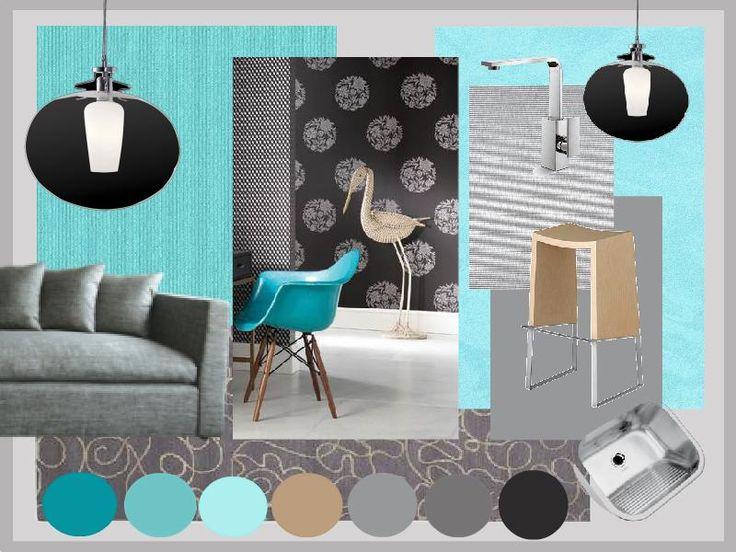 Neutral grey Kitchen benchtops and doors with aqua details. Created using www.sampleboard.com #aqua #kitchen #moodboard