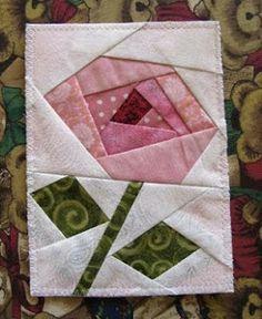 Rose Quiltagram (foundation piecing) FREE pattern                                                                                                                                                     More