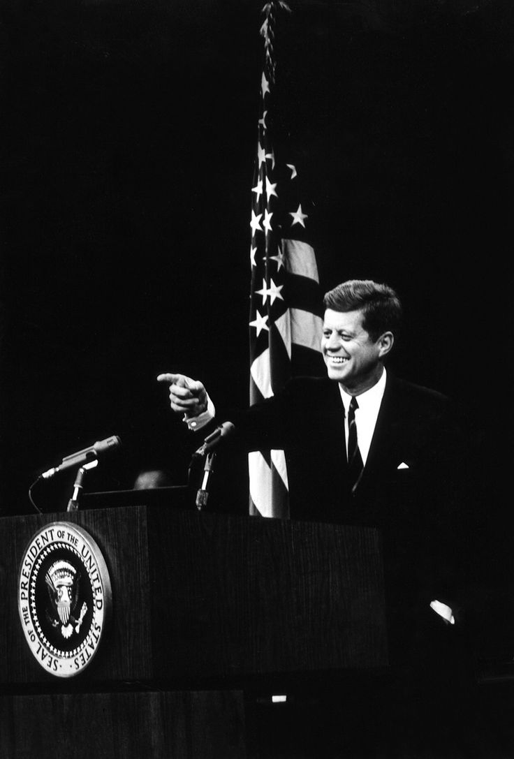 20 November 1962  President Kennedy points to a reporter at a news conference. Photograph by Abbie Rowe