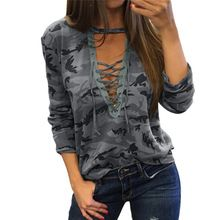 Spring Women Lace up Bandage V Neck Camouflage T-shirt Female Long Sleeve Hollow Out T shirt Army Green Top Tee Shirts Blusas(China (Mainland))