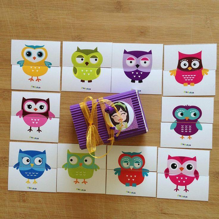 """""""Pia Polya İki Parçalı Baykuş Görsellerini Tamamlama Kartları""""  18 ay ve 28 ay yaş arası çocuklar için uygundur. A3"""