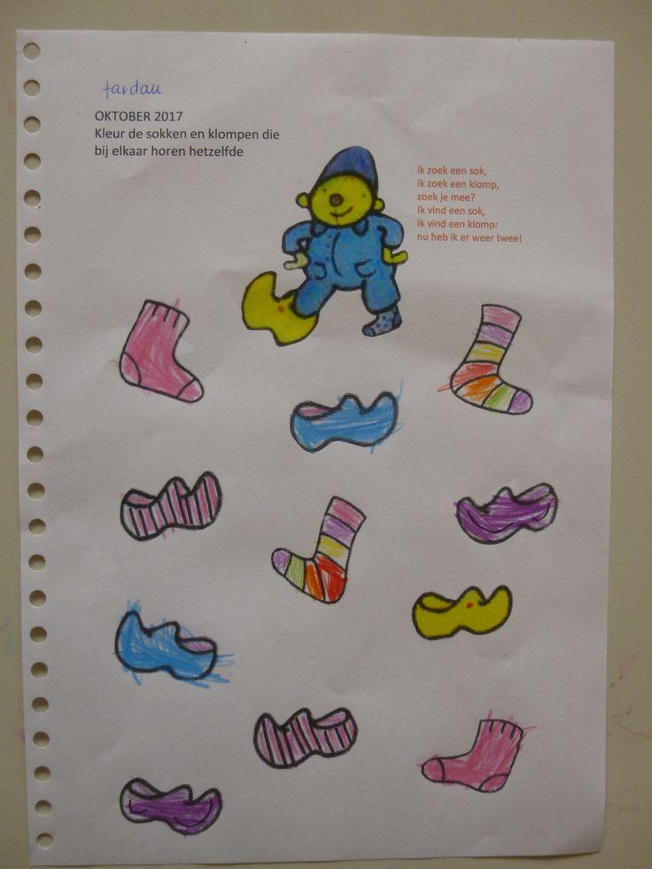 versje: Ik zoek een sok, ik zoek een klomp, zoek je mee? Ik vind een sok, ik vind een klomp: nu heb ik er weer twee!