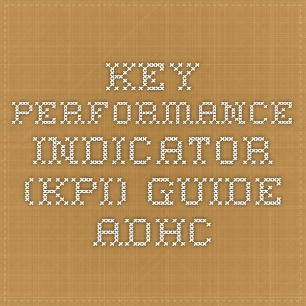 Key Performance Indicator (KPI) Guide - ADHC