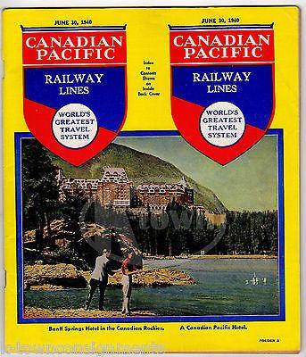 CANADIAN PACIFIC RAILWAY BANFF SPRINGS ROCKIES VINTAGE RAILROAD TIMETABLE 1940