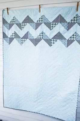 Zig zag quilt on the top: Sewing Quilti, Zig Zag, Blue Bunnies, Bold Zigzag, Pattern, Sewing Quilts, Quilts Modern, Saw Quilts, Bunnies Zig