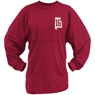 Alabama Crimson Tide Women's College Football Playoff 2015 National Champions Sweeper Long Sleeve T-Shirt - Crimson