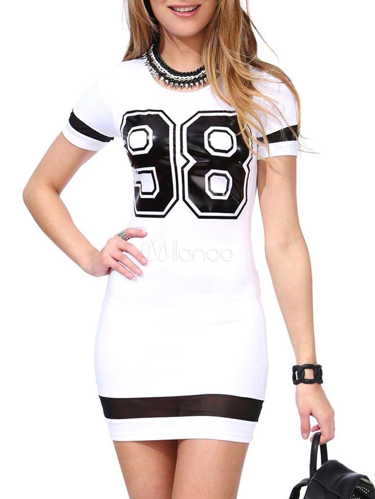 Vestido corto con manga corta y estampado de letras - Milanoo.com