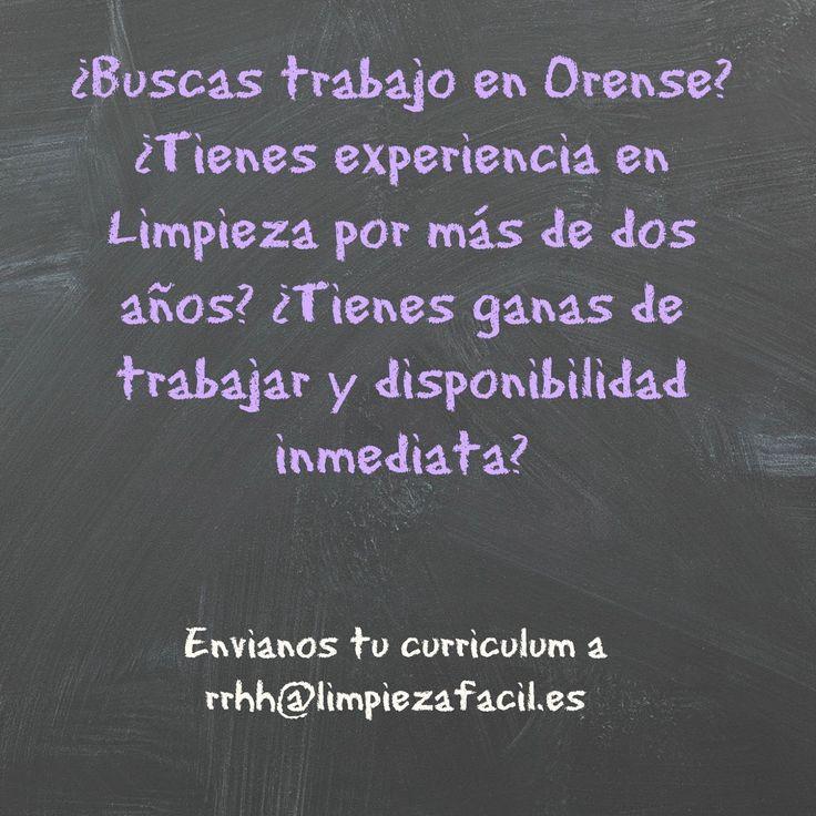 Si buscas #trabajo en #Orense y tienes experiencia en #limpieza no dudes en ver esta oferta de empleo en Easylimp