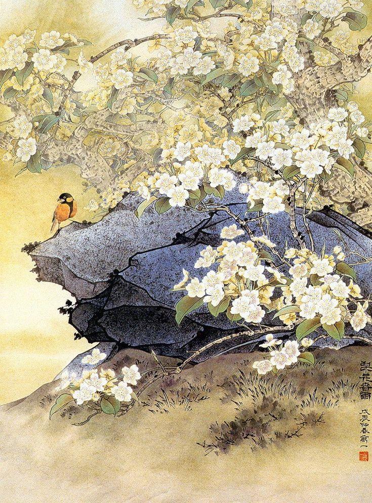 Открытка, китайская живопись в картинках