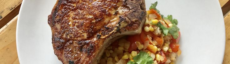 Sous Vide Pork Chop with Corn and Red Pepper Salad
