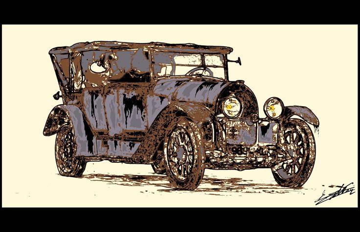 Tableau voiture ancienne collection enchères peinture est un tableau contemporain et moderne d'une vieille automobile.