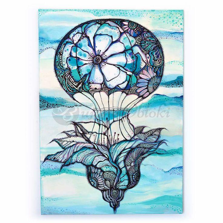 Balonem w podróży z wyobraźnią | Akryl na płótnie | 100 x 70 x 1,5 cm