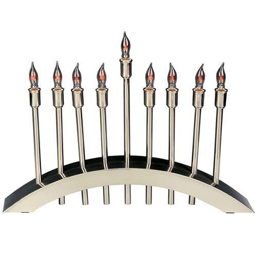 Brushed Nickel Plated Arch Of Freedom Electric Menorah With Flickering Bulbs And Individual Switches