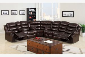 Transitional Brown Leather Reclining Sectional Sofa Recliner Couch Cup