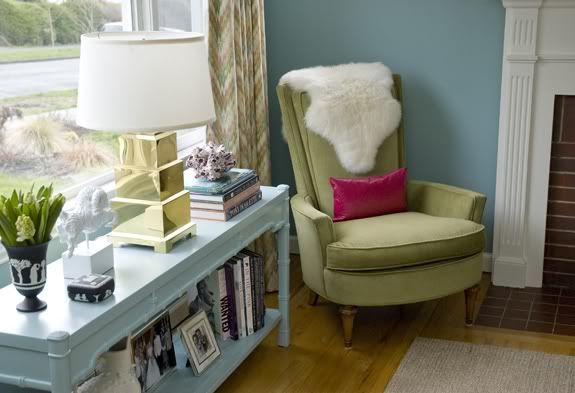 Painted furniture. House tour: Melanie of Plum Cushion, via Little Green Notebook: Decor, Console, Living Rooms, Chairs, Blue, Colors, Bedroom