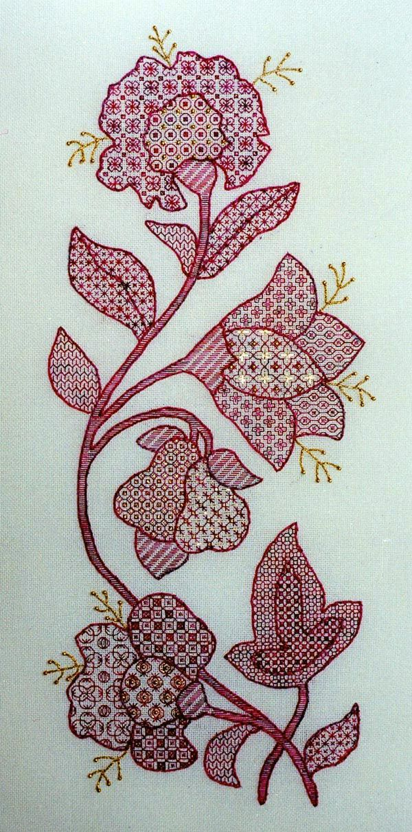 Hydrangeas, Jacobean flowers, Two-Handed Stitcher: blackwork with Kreinik Blending Filament