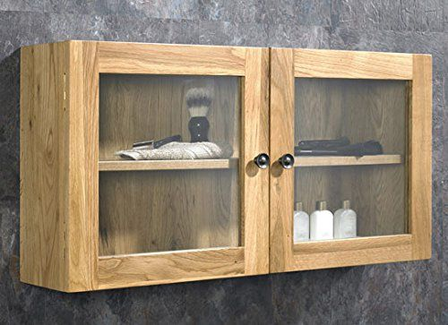 Clickbasin solid oak wall mounted double door bathroom for Solid glass shower doors