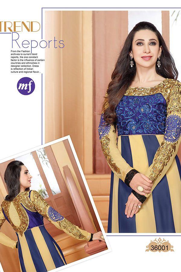 Adorable Karishma Kapoor Blue Beige Gorgette Anarkali Suit ...