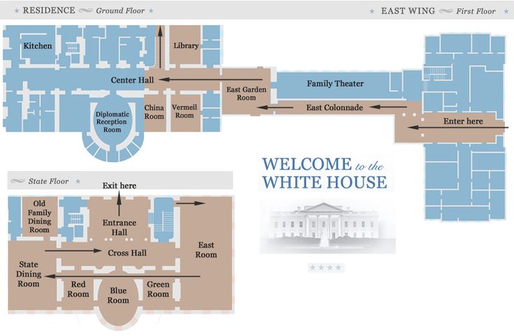 Map of White House public tour route
