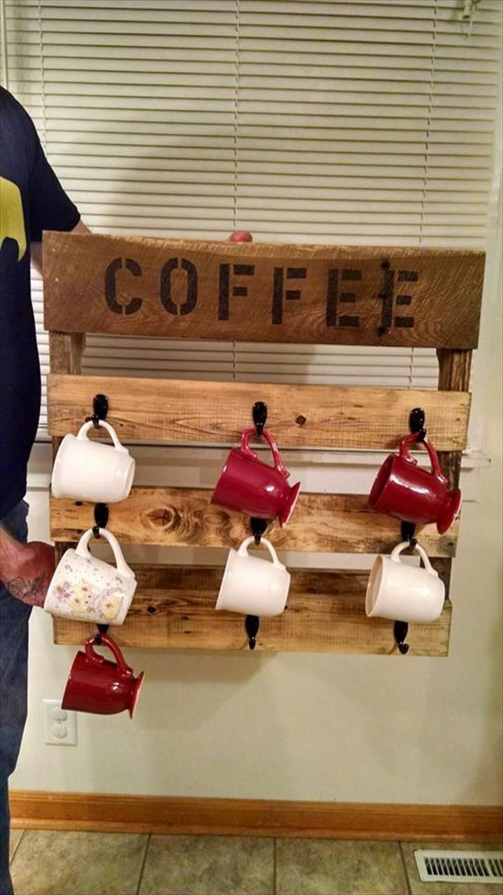 Pallet Coffee Mug Rack - 125 Awesome DIY Pallet Furniture Ideas | 101 Pallet Ideas - Part 8