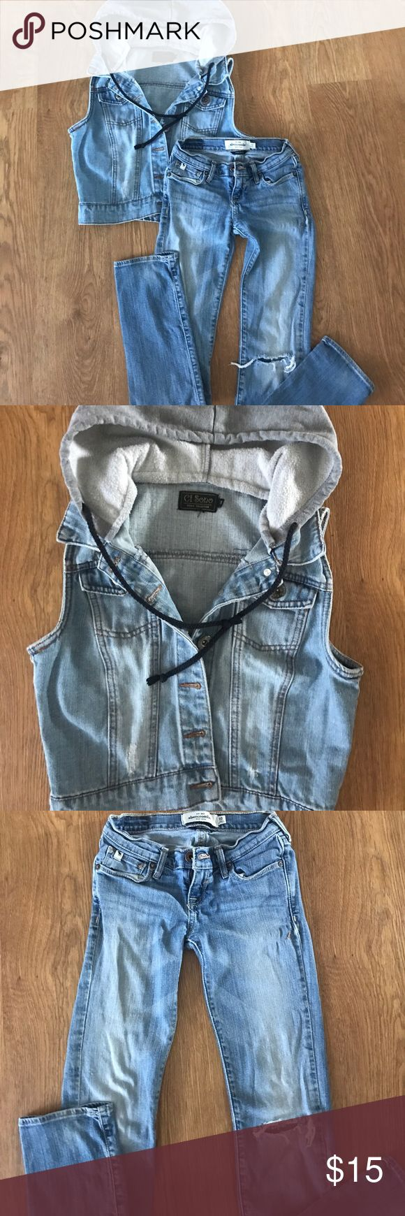 Size 10 girl's jean vest with Abercrombie  jeans Great condition size 10 Abercrombie girl's distressed jeans.  With a distressed jean hoodie size 10 abercrombie kids Matching Sets