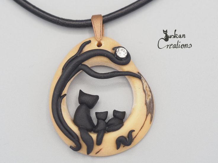 Tagua necklace with polymer clay cat appliques, tagua jewelry, polymer clay…