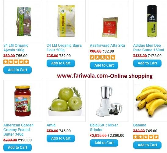 Fariwala.com- Offers Fresh Fruits and vegetables home delivery in NCR,food and Grocery,Beverages,Personal Care,Household Supplies,Health and Hygiene,Baby Product,Elec and etc.