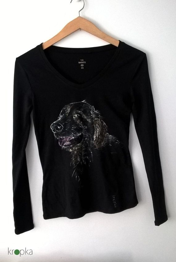 Golden retriever tshirt Custom dog tee Hand by KropkaDesign