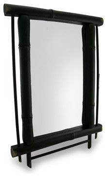 Wall Mounted Mirror with Green Bamboo Frame 19 In. x 14 In. asian-wall-mirrors