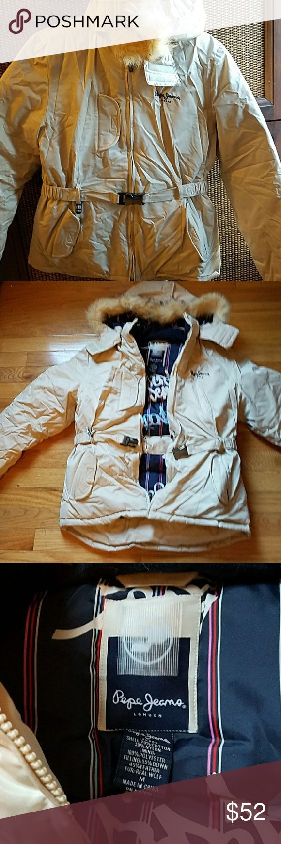Pepe jeans down jacket Perfect condition. Never worn! Women's size Medium. Very thick down filled jacket. Really pretty beige with fur hood. Make me an offer! Pepe Jeans Jackets & Coats Puffers