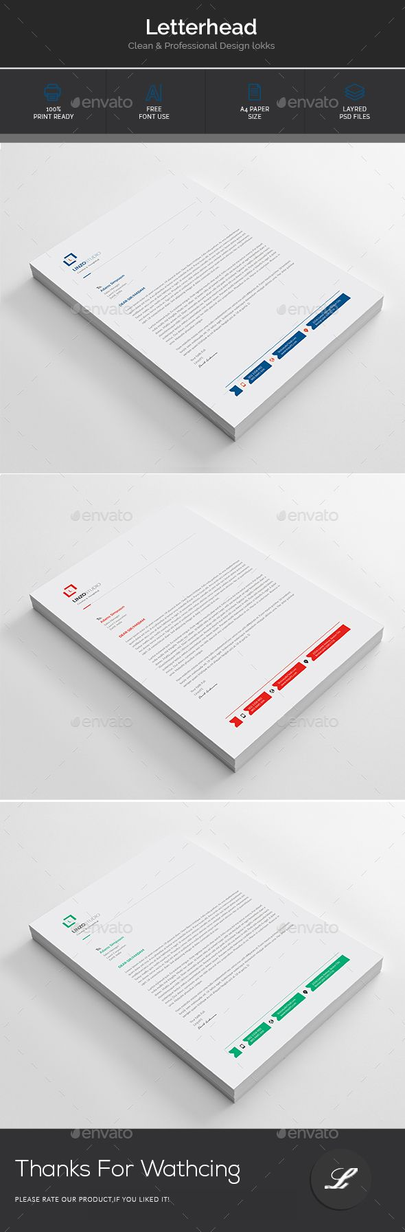 Letterhead      A4 Size With Bleeds     Layers are all well organized.     Three Color Versions     Different two style resume     100% ready to print     Image not include     Free font used     Very easy to edit