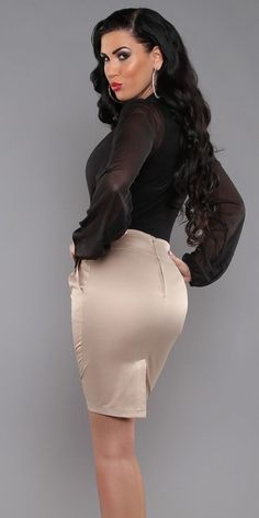 Tight Ivory Satin Pencil Skirt and Sheer Black Blouse | blouse and ...