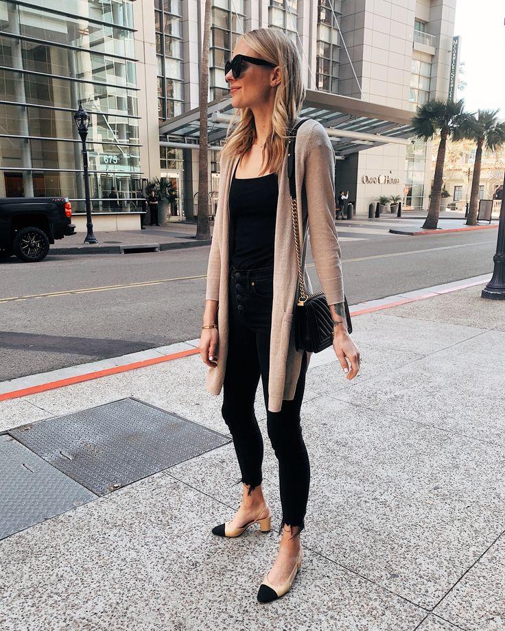 Fashion Jackson Wearing Beige Cardigan Black Top Black Skinny Jeans Chanel Sling…