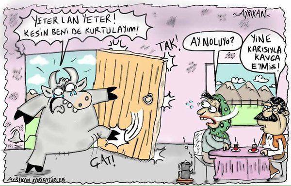 - Yeter lan yeter! Kesin beni de kurtulayım!  + Ay noluyo?  - Yine karısıyla kavga etmiş!  #karikatür #mizah #matrak #komik #espri #şaka #gırgır #komiksözler