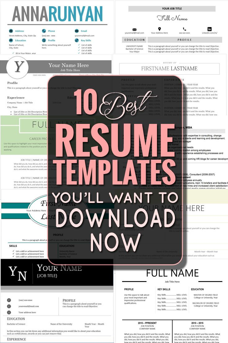 Best Resume Templates best free resume templates The 10 Best Resume Templates Youll Want To Download Now Repined