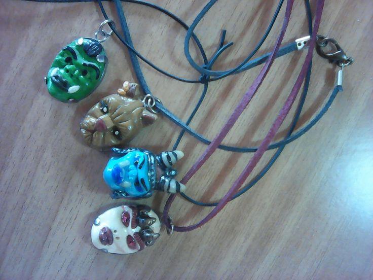 3 Orc and 1khajit head pendant