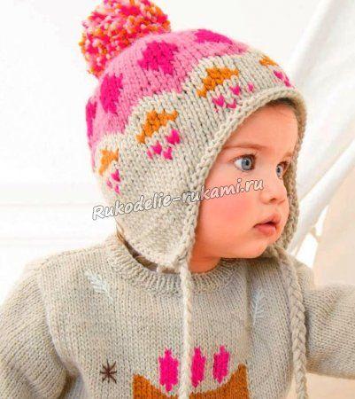 детская шапочка спицами дети схема вязание детские вязаные