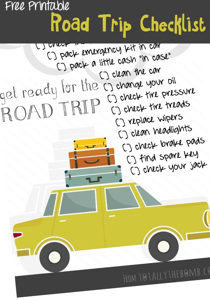 It's just a picture of Crafty Printable Road Trip Checklist