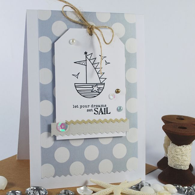 'Beach Cottage' Image Stamps. With a Dotty Paper from 'Marshmallow' Pattern Paper Pack.