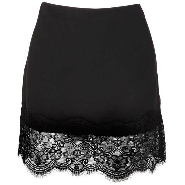 An Lace Hem Skirt in Black (755 RUB) ❤ liked on Polyvore featuring skirts, mini skirts, bottoms, saias, black, mini skirt, lacy skirt, lace skirt, short lace skirt and lace miniskirts