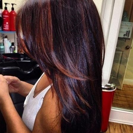 Dark burgundy hair with Dark brown on the tips n sides. - Click image to find more hair posts