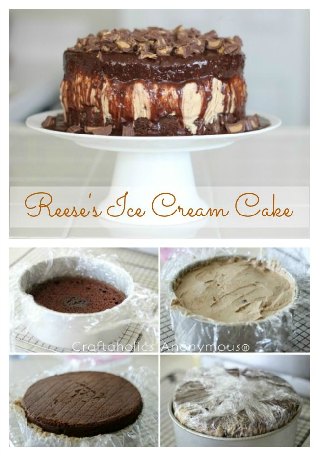 Reeses Peanut Butter chocolate Ice Cream Cake. Delicious and easy to make!