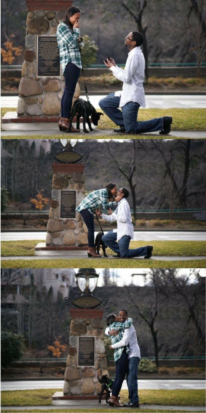 """""""One minute I was looking at our puppy and when I turned around Reggie was down on one knee and asked me to marry him. It was by far the best morning of my life!"""""""