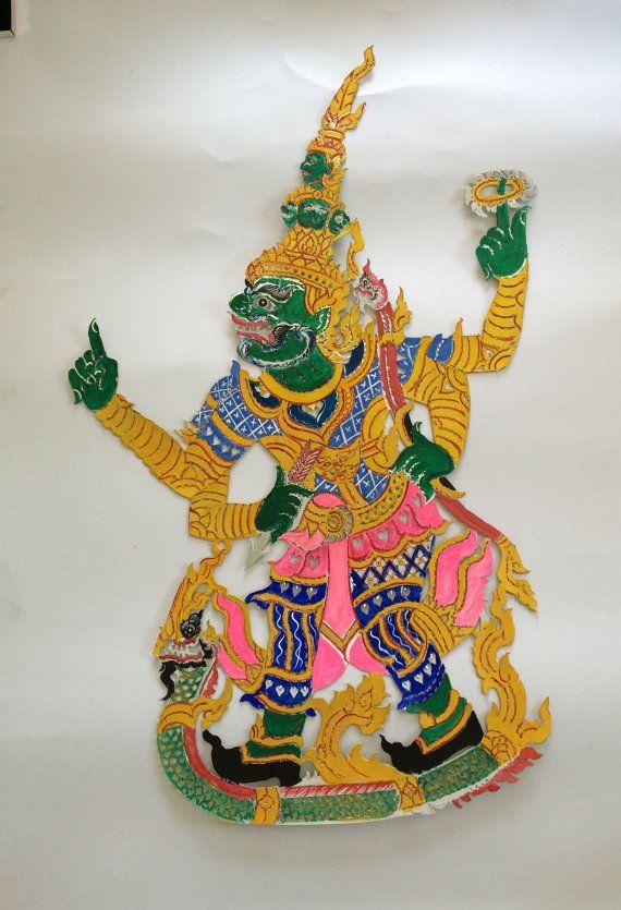 Thai Shadow Puppet Ravana paper carving art Thai by EkaluxThai