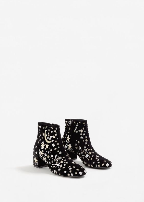 Stars embroidered ankle boots - f foBoots and ankle boots Woman | MANGO United Kingdom