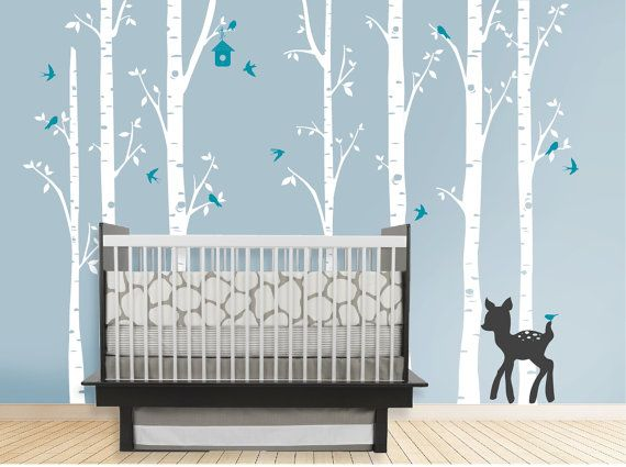 Birch Decal with Deer, set of 7 birch trees, fawn decal, Nursery Birch Tree, woodland, woods